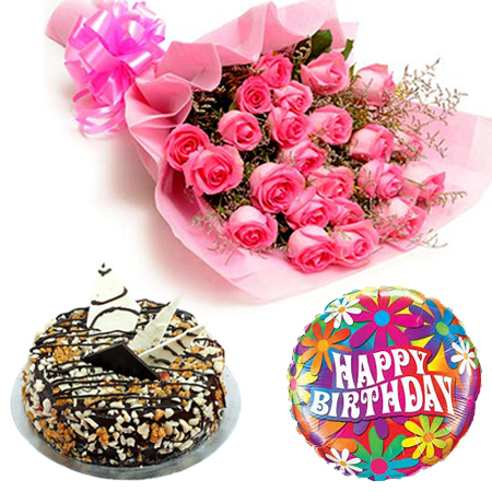 send flower Defence Colony DelhiPink Roses with Cake and Balloon