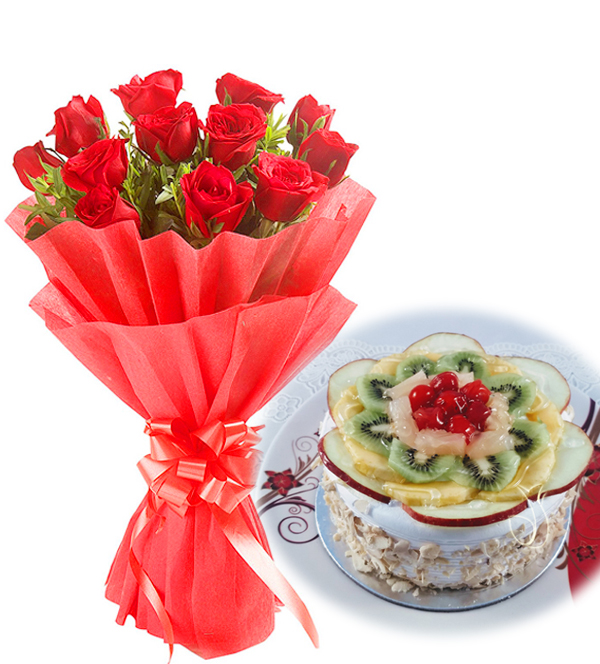 send flower Seelampur DelhiRed Rose & Fruit Cake