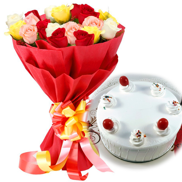 send flower Defence Colony DelhiMix Roses & Vanila Cake
