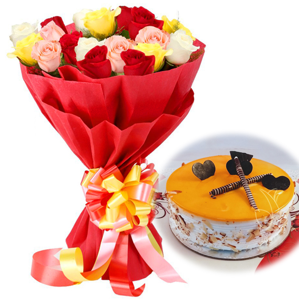 send flower Green ParkMix Roses & Mango Cake