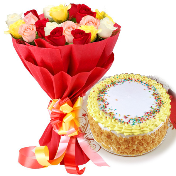 send flower Defence Colony DelhiButter Scotch Cake & Mix Roses