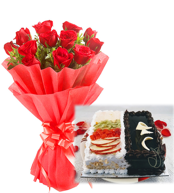 send flower Seelampur Delhi2 In 1 Cake & Red Roses
