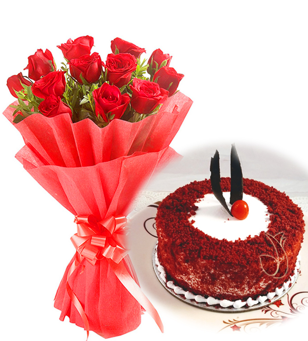 send flower Seelampur DelhiRed Roses & Red Velvet Cake