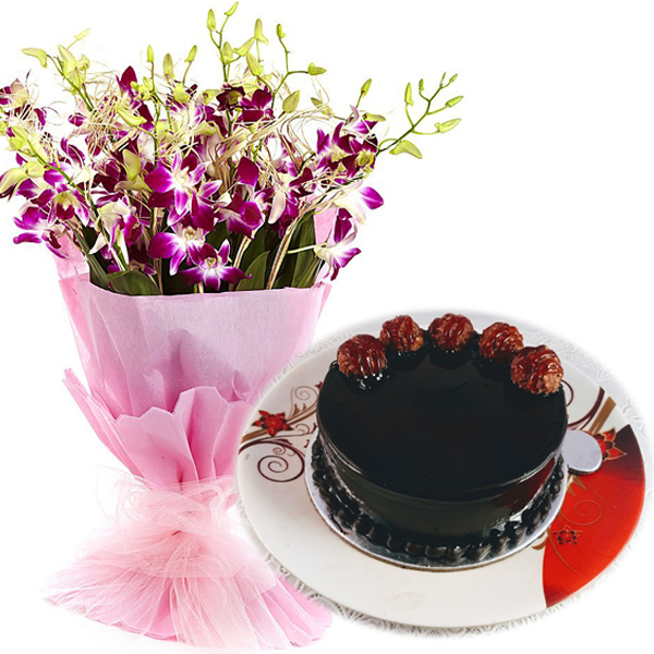 send flower Seelampur DelhiFerrero Rocher Cake & Orchids Bunch