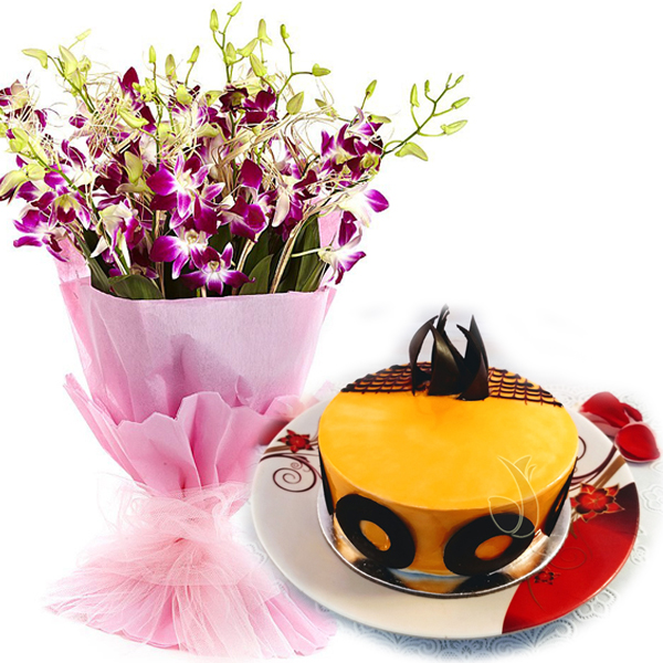 send flower Seelampur DelhiMango Magic Cake & Orchids Bunch