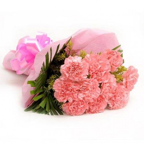 send flower Jagatpuri DelhiPink Carnation Bunch