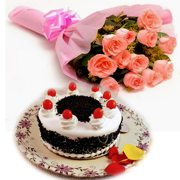 send flower Pahar Ganj DelhiPink Roses & Black Forest Cake