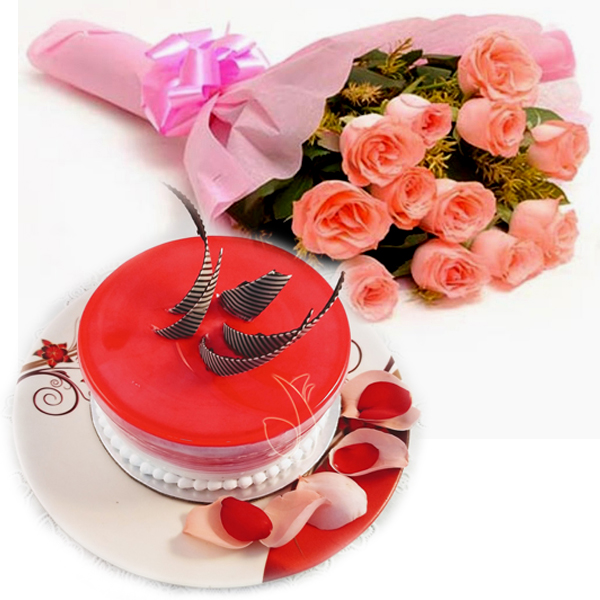 send flower Hazrat Nizamuddin DelhiPink Roses & Strawberry Cake