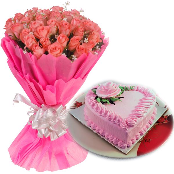 send flower Green ParkPink Roses & Heartshape Strawberry Cake