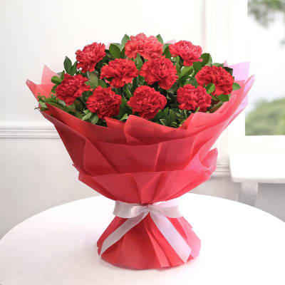 send flower Jagatpuri DelhiRed Carnation Bunch