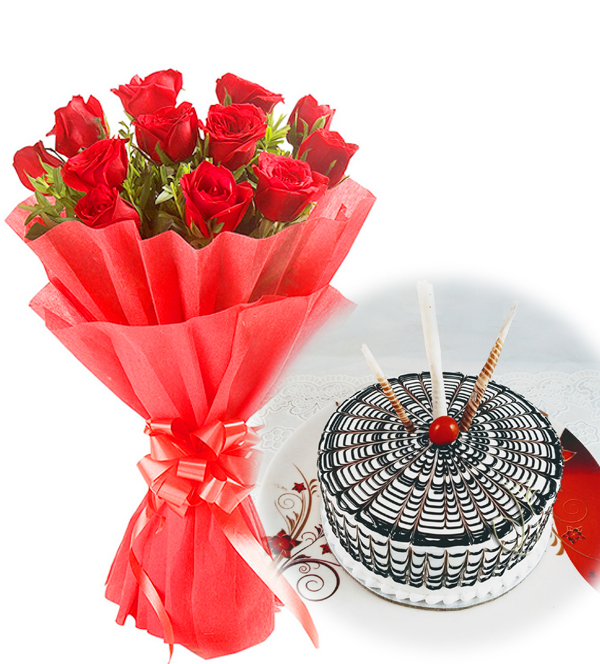 send flower Jamia Nagar DelhiRed Roses & Butter Scotch Cake