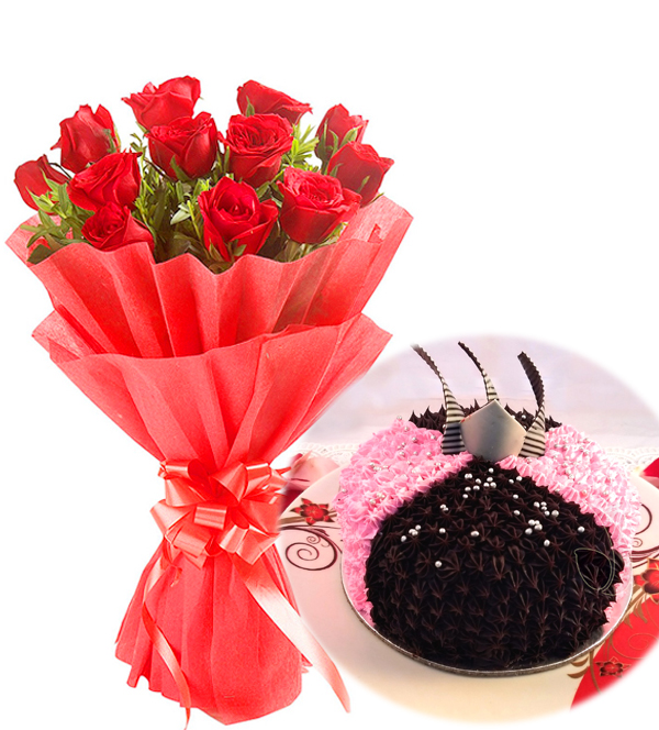 Flowers Delivery in Greater NoidaRed Rose & Choco-Strawberry Cake