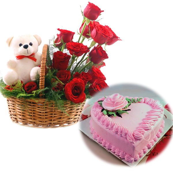 send flower Alaknanda DelhiRose Basket & Heartshape Strawberry Cake