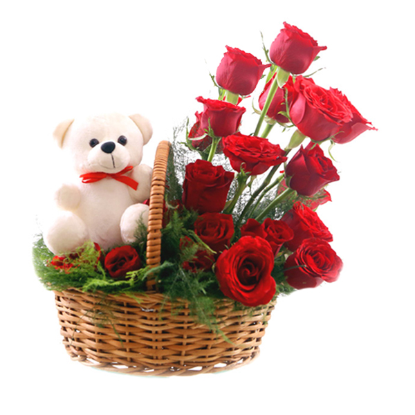 send flower Jagatpuri DelhiRose Basket & Teddy