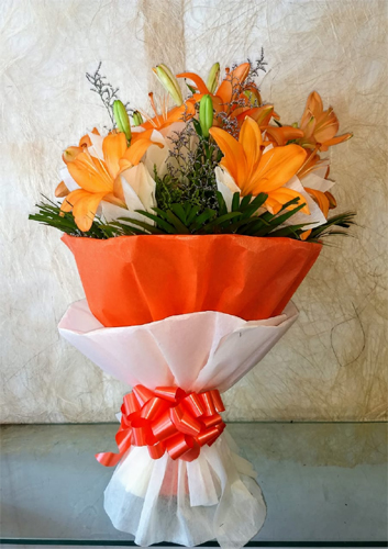 6 orange lilly Bunch