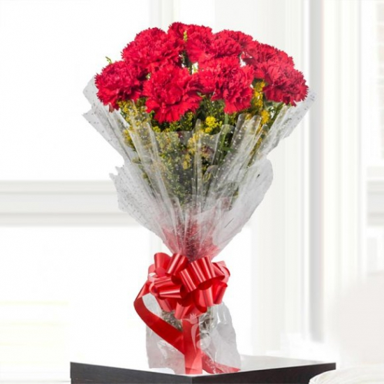 send flower Bhajan Pura DelhiBunch of Crimson Color Carnation