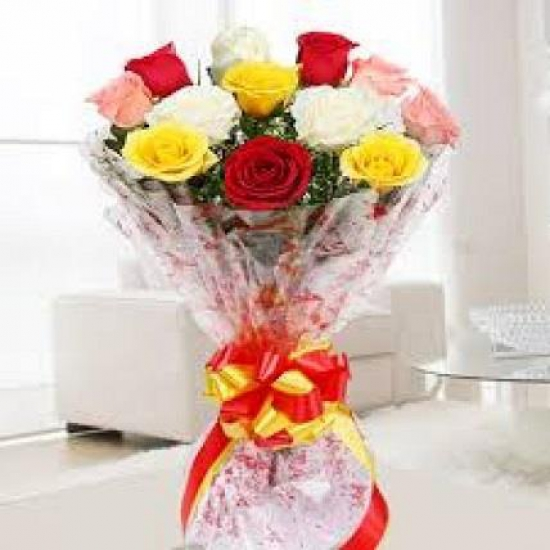 send flower Anand Niketan DelhiMix Roses Bunch