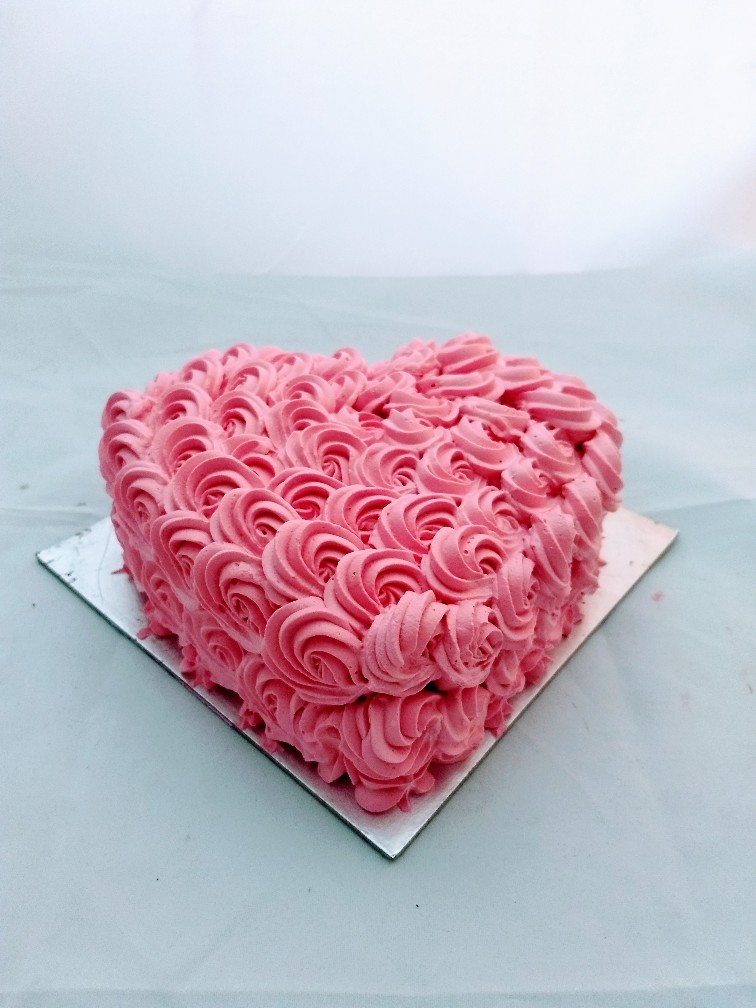send flower Vasant viharPink Heart Shape Cake