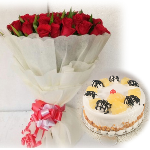 Flowers Delivery in Uniworld City GurgaonRed Rose & Pineapple Cake