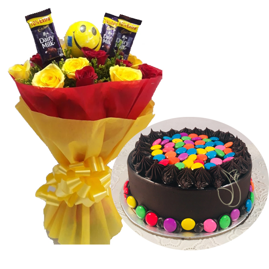 send flower Pahar Ganj DelhiMix Roses Chocolate & Gems Cake