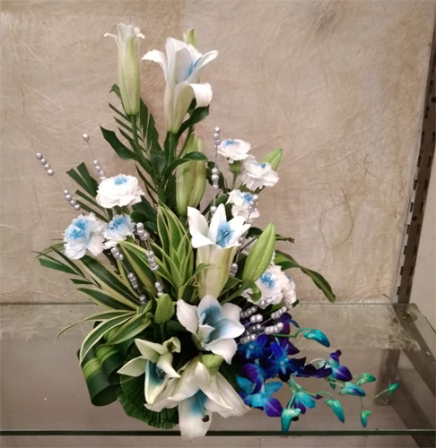 send flower Ram Nagar DelhiBlue Flowers Basket