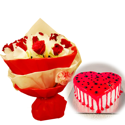 send flower Green ParkRed Roses & HeartShape Cake