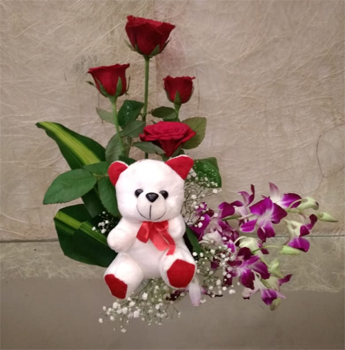 send flower Ram Nagar DelhiMix Flowers & Teddy Basket