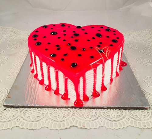 Heart Shape Strawberry Jelly Cake