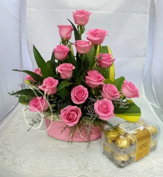 send flower Sagarpur DelhiPink Rose Basket & Box of Ferrero Rocher
