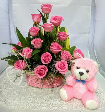 send flower Bhajan Pura DelhiPink Rose Basket & Small Teddy