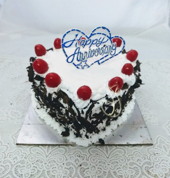 Flowers Delivery in Greater NoidaBlack Forest Heart-shape Cake