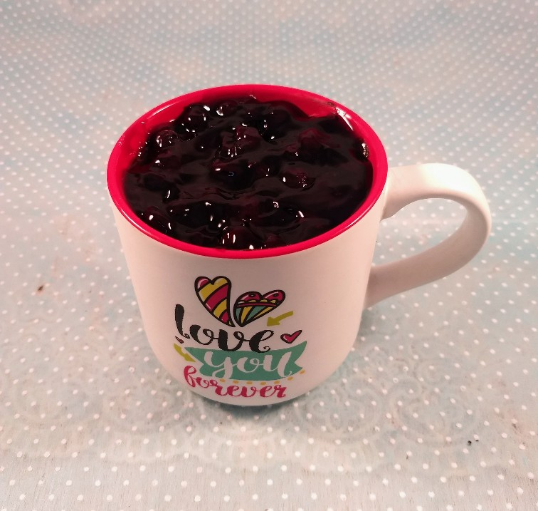 Blueberry Cake in Coffee Mug