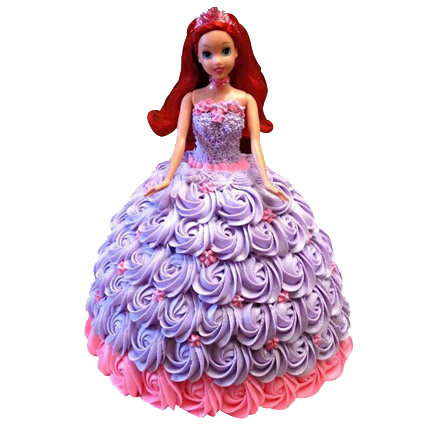 Flowers Delivery in Uniworld City GurgaonBarbie Doll in Roses Cake 2kg