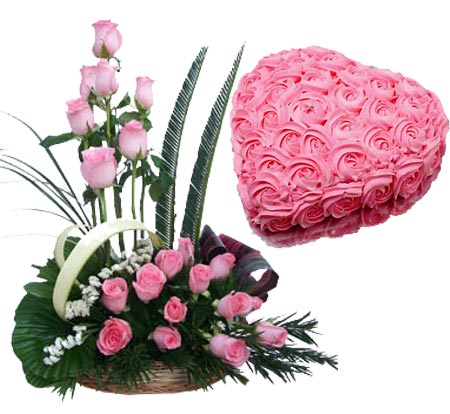 send flower Defence Colony DelhiPink Roses with Pink Rose Heart Cake