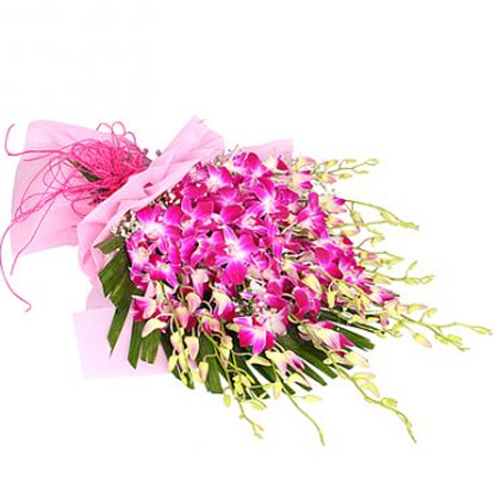 send flower Sagarpur DelhiBunch of 15 Orchids in Paper Packing