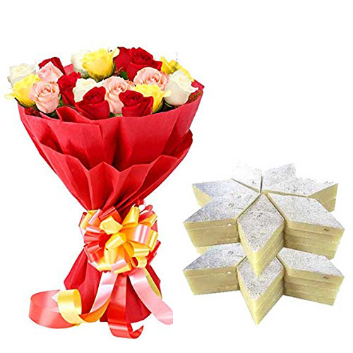 send flower Seelampur DelhiBunch of Mix Roses in Paper & 500Gm Kaju Burfi