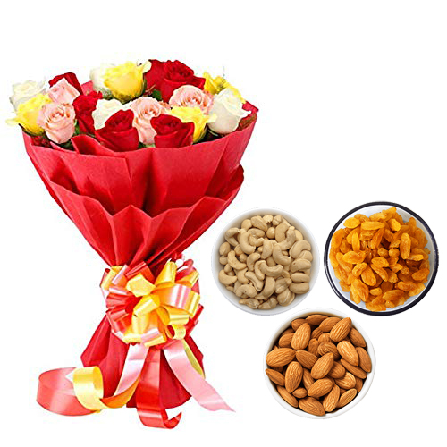 send flower Seelampur DelhiMix Roses Bunch & 750Gm Mix Dry Fruits