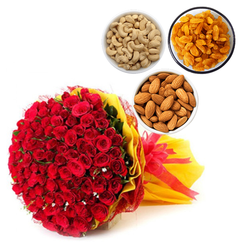 send flower Seelampur DelhiBunch of Red Roses & 500Gm Mix Dry Fruit