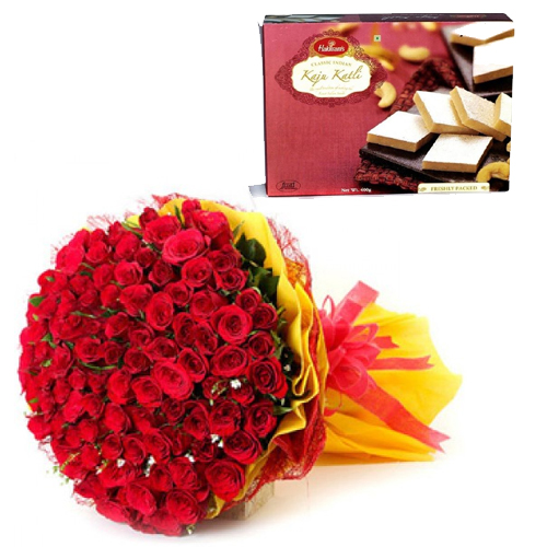 send flower Defence Colony DelhiBunch of Red Roses & 500Gm Kaju Burfi