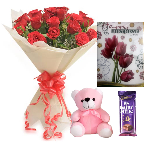 send flower Alaknanda DelhiRoses Teddy & Card Chocolate