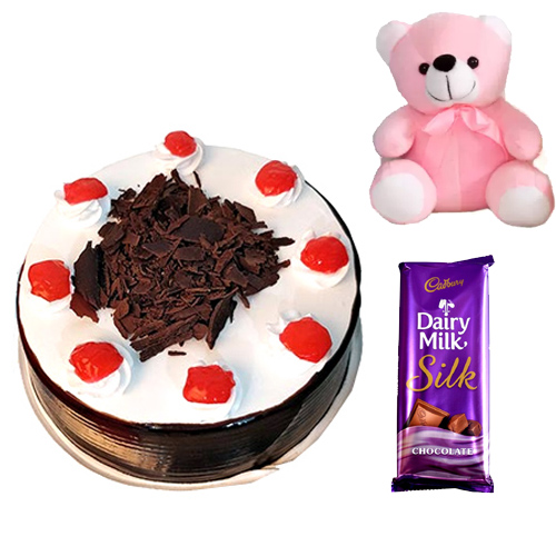 send flower Anand Parbat DelhiCake & Teddy & Chocolate