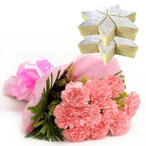 send flower Green ParkBunch of 12 Pink Carnation & 1kg Kaju Burfi