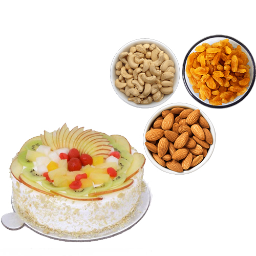 send flower Paryavaran Complex Delhi1/2KG Fresh Fruit Cake & 750Gm Mix Dry Fruits