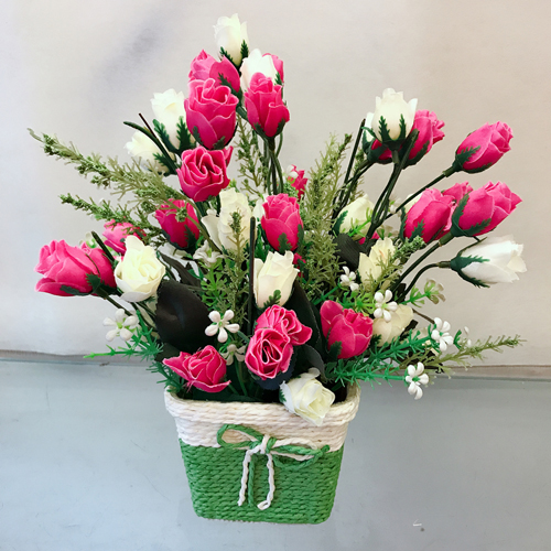 send flower Anand Parbat Delhi20 Artificial Roses in Basket (Only For Delhi)
