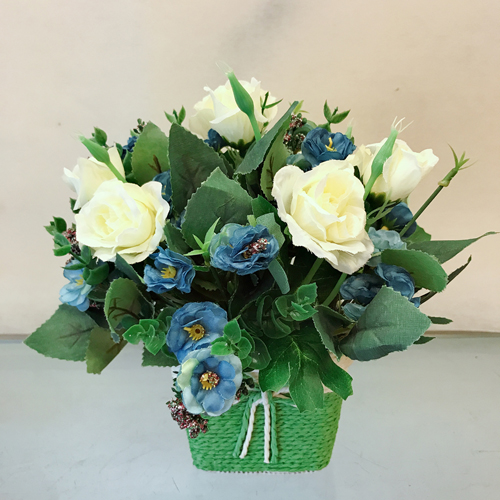 send flower Jagatpuri DelhiArtificial Roses in Basket (Only For Delhi)