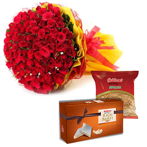 send flower Seelampur DelhiBunch & Sweet & Haldiram Namkeen Pack