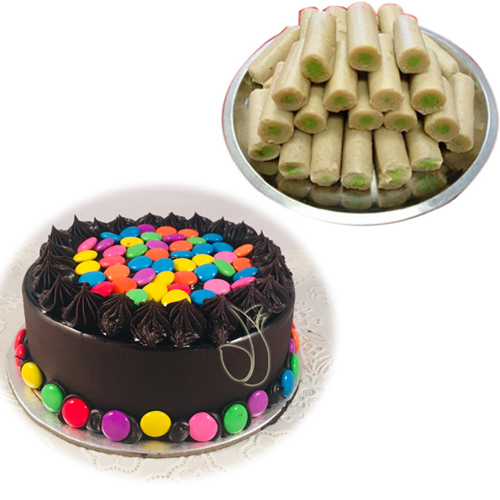 send flower Dwarka Delhi1/2kg Gems Cake & 500Gm Kaju Roll