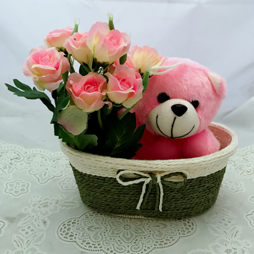 send flower Seelampur DelhiArtificial Roses & Teddy (Only For Delhi)