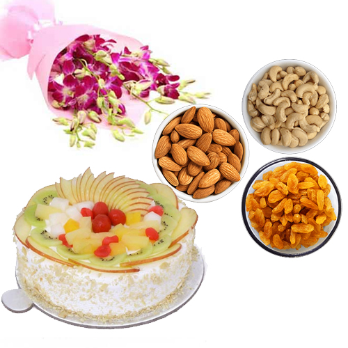 send flower Hazrat Nizamuddin DelhiOrchids & Dry - Fruits & Fruit Cake
