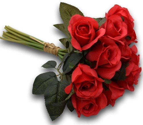 send flower Anand Parbat Delhi12 Artificial Red Roses Bunch (Only For Delhi)